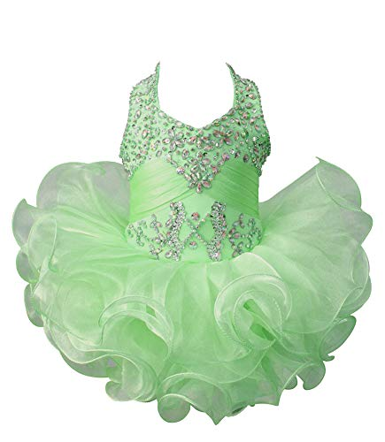 Junguan Baby Girls Halter Ruffles Crystal Cupcake Pageant Dress Short Birthday Party Ball Gowns Knee Length 3 US Mint Green -