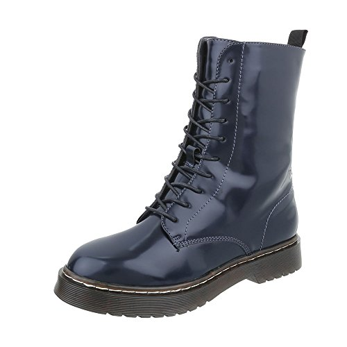 Ital-Design Women's Boots Block Heel Lace-Up Ankle Boots Dark Blue yBH3WvhWl