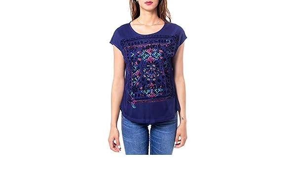 Desigual Woman t Shirt ts lua 19wwtk46 m Blue at Amazon