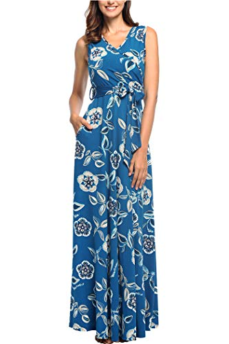 Comila Petite Women's Long Dress, Vintage Classic Floral Maxi Dress Fashion Summer Sleeveless V Neck Wrap with Pockets Waist Slimming Flattering Beach Dress Light Blue M (US 8-10)