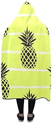 Rtosd Couverture à Capuche été Noir Ananas sur Couverture à Rayures 60x50 Pouces Wrap à Capuche Comfotable