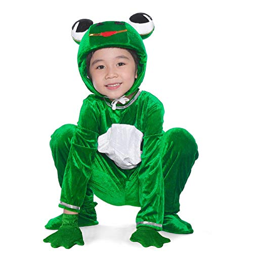 (LOLANTA Unisex Deluxe Kids Frog Costume Zip Up Child Halloween School Play Party Outfit (4T))