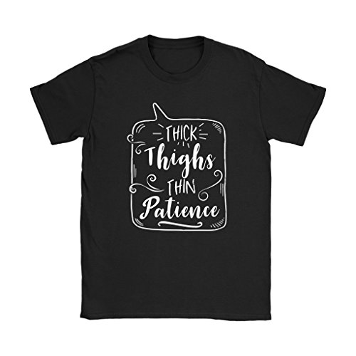 teelaunch Thick Thighs Thin Patience T-Shirt: Funny Gym Workout Tee - Women's Sized Tee, 2XL (Cap Training Womens T-shirt Sleeve)