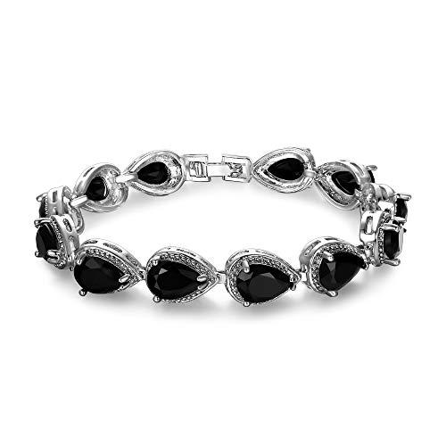 (EVER FAITH Women's Prong CZ Elegant Prom Bridesmaid Birthstone Teardrop Tennis Bracelet Black Silver-Tone)