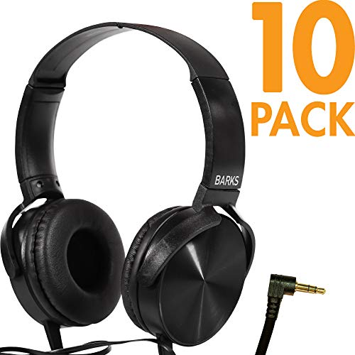 Bulk Classroom Headphones - 10 Pack - Over Ear Student Head Phones: Perfect for Kids in Classrooms, Schools, Libraries, Class Set (Great Value, Durable, Noise Reducing, Comfortable Fit, Easy to Clean)