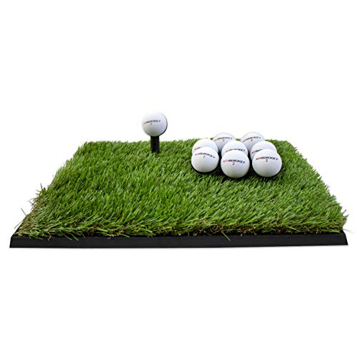 Rukket Golf Hitting Grass Mat | Realistic Fairway & Rough | Portable Driving, Chipping, Training Aids, Equipment for Residential Backyard & Indoor Practice with Rubber Tee & Balls (Mini-Turf Rough)