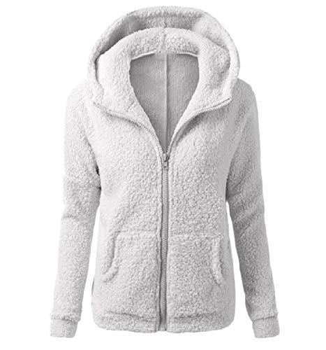 XINHEO Women's Solid Autumn Plush Zip Up Slim Fit Hood Outwear/Overcoat Light Grey
