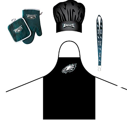Football Bbq Apron - Philadelphia Eagles NFL Barbeque Apron and Chef's Hat and Oven Mitt with Bottle Opener