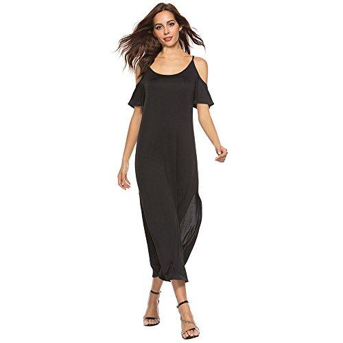Womens Dresses Clearance! Women's Summer Solid Cold Shoulder Tank Maxi Dress Casual Long Maxi Dress (M, Black)
