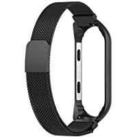 HIGAR Flexible Stainless Steel Magnetic Clasp Wristband Strap Compatible with Mi Band 3 / Mi Band 4 (Watch NOT Included) (Black)