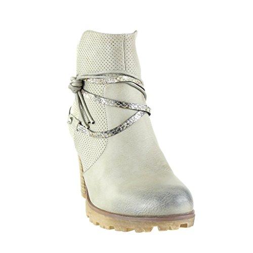 Angkorly - Zapatillas de Moda Botines cavalier stile vendimia zapatillas de plataforma mujer piel de serpiente perforado tanga Talón Tacón ancho alto 8 CM - Gris