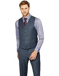 Men's Regular Fit Blue Sharkskin Waistcoat 44R