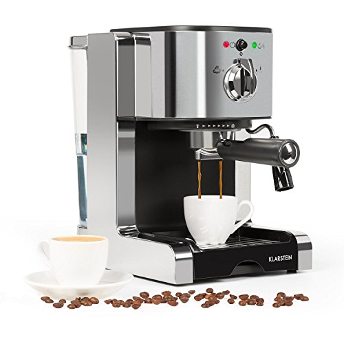 Klarstein Passionata Rossa 15 Espresso Machine • 20 Bar • Capuccino • Milk Foam • 1350W • Stylish Design for Modern Kitchens • Steam Nozzle for Frothing Milk and Preparing Hot Drinks • Silver