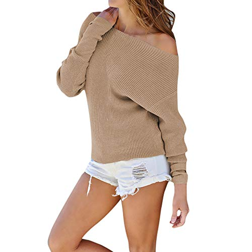 (Sunhusing Fashion Women Off-Shoulder Knitted Long-Sleeve Blouse Comfy Solid Color Sweater)