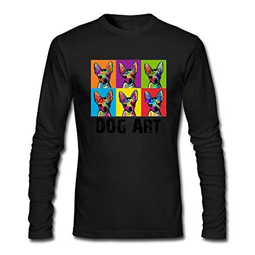 Bass Pop Trumpet - Men's Dog Pop Art Long Sleeve Athletic Cotton Crew Neck T-Shirt