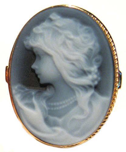 - Romantica, Cameo Ring Sterling Silver 18k Gold Overlay Master Carved, Agate Stone Size 7.75 Italian