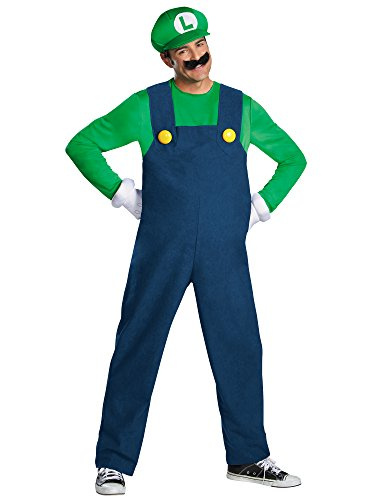Disguise Super Mario Luigi Deluxe Mens Adult Costume, Green/Blue, XX-Large/50-52