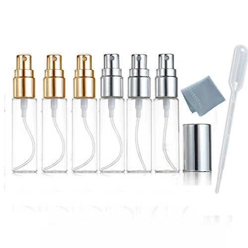 ELFENSTALL- 6pcs Mini Fine Mist Clear 10ml 1/3OZ Atomizer Glass Bottle Spray Refillable Fragrance Perfume Empty Scent Bottle Clean Cloth for Travel Party Portable Makeup Tool Free 3ML Free Pipette