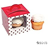 Red and White Polka Dot and Striped Cupcake Boxes with Inserts - 12 each