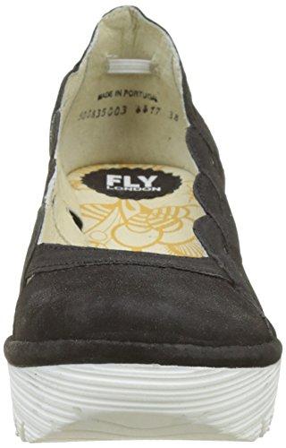 Yelk835fly Donna White Tacco Chiusa London Punta black Scarpe Sole Nero Fly Col 5v4Iw0wq