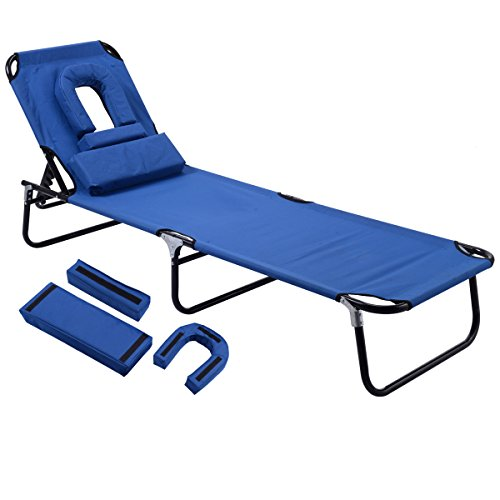 Gymax Beach Chair, Sunbathing Chair Patio Lounge Chair Folding Adjustable Recliner with Hole for Face (Blue) (Folding Patio Lounge Chair)