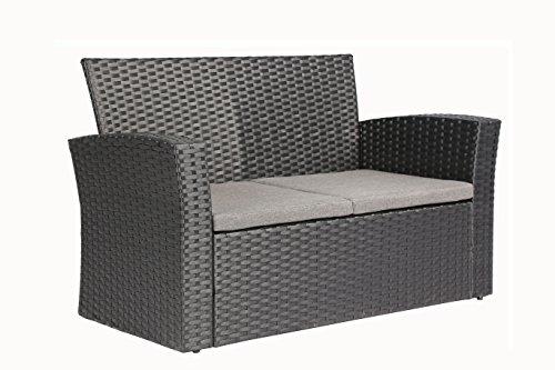 Baner Garden (N87 4 Pieces Outdoor Furniture Complete Patio Cushion Wicker P.E Rattan Garden Set, Full, Black
