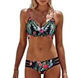 Photno Bohemian Bikini Set for Women, Summer Two Piece Push Up Swimwear Bathing Suit Swimsuit Green