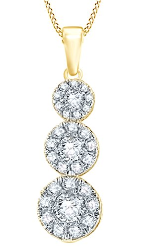 d Three Cluster Pendant Necklace in 14K Solid Yellow Gold (0.87 Ct) (Gold Diamond Cluster Necklace)