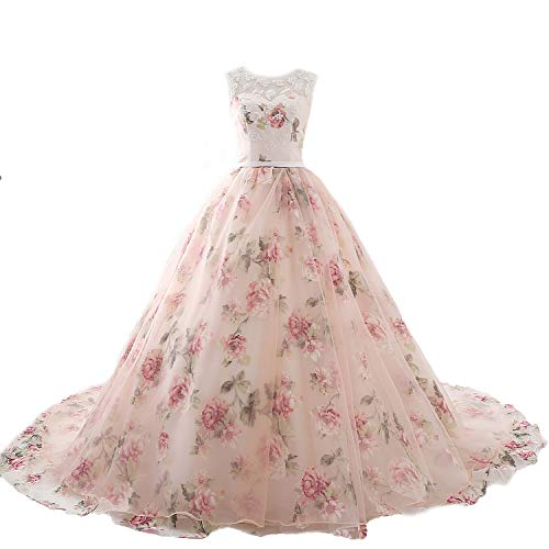 4ee9d63c56e76 ZVOCY Floral Print Prom Evening Dresses Long Beaded 3D Flower Ball Gown  Quinceanera Dress Pink 2