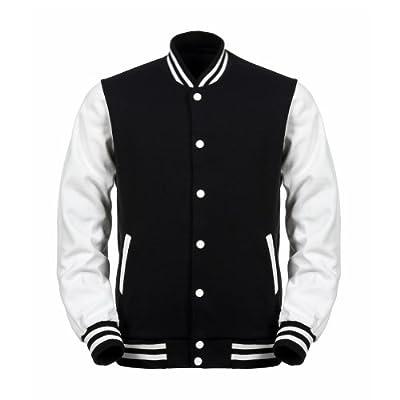Angel Cola Black & White Cotton Varsity Lightweight Letterman Jacket