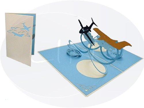 LIN Pop Up 3D Greeting Card for Pilots and Flight Enthusiasts, Airplanes in Midair, (#149) -