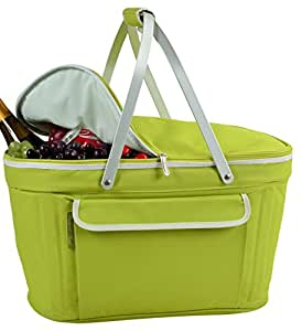 Picnic at Ascot Large Family Size Insulated Folding Collapsible Picnic Basket Cooler with Sewn in Frame - Apple Green