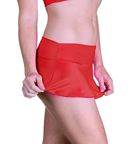 (Sexy Micro Mini Stretch Short Skirt for Full Figured Plus Women Dress Size 1X (14-16) Red)