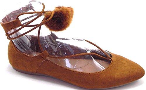 DEV Womens Pointy Toe Pom Pom Posh Tie Up Flat Pumps Sandal Shoes 6-10 Cognac msI8HdR5WF