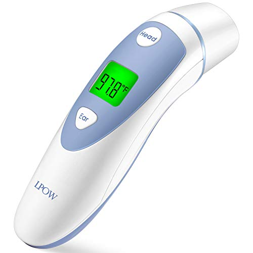 LPOW Forehead and Ear Digital Medical Infrared Accurate Reading Thermometer for Baby & Adults, Fever Warning, Clinical Monitoring,FDA and CE Approved