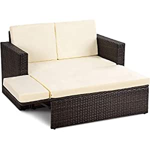 Adumly Set of 2PCS Patio Rattan Loveseat Sofa Ottoman Daybed Garden Furniture Set W/Cushions
