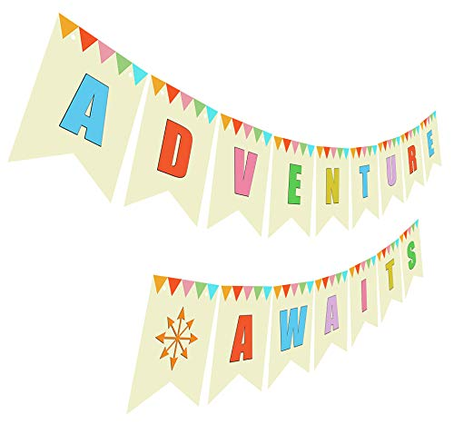 Adventure Awaits Banner, Retirement Baby Shower Wedding Moving Going Away Party Sign