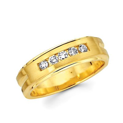 Size- 5.5 - 14k Yellow Gold Ladies Womens Diamond Wedding Ring Band .21ct (G-H Color, I1 (0.21 Ct Color)