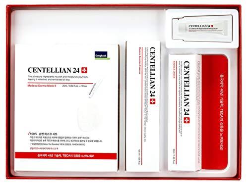 Dongkook Centellian 24 Madeca Cream Essence Mask Sheets Gift Set Moisturizer Anti-Aging Firming Whitening Sensitive Skin (Set of 15-Cream 1ea 1.69 o.z + 3ea 0.03 o.z +1ea Essence+ 10ea Mask sheet) (Cream Essence Derma)