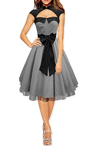 BlackButterfly Athena' Polka Dot Large Bow Dress (Silver, US - Bow Ladies Circle Satin