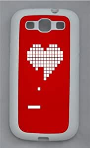 8 Bit Heart Valentines Day TPU Silicone Rubber Case Cover for Samsung Galaxy S3 SIII I9300 White