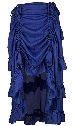 Alivila.Y Fashion Womens Steampunk Victorian Gothic Party Dress Skirt 31672-Royal - Steampunk Blue