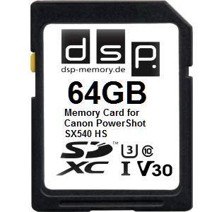 Tarjeta de Memoria Profesional V30 de 64 GB para Canon PowerShot SX540 HS
