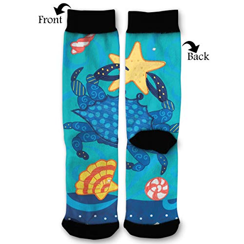 (Crab and Starfish Shells Socks Funny Fashion Novelty Advanced Moisture Wicking Sport Compression Sock for Man Women)