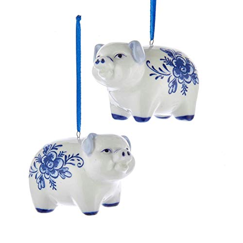 Kurt Adler Pig Delft Blue and White 3 inch Porcelain Ceramic Christmas Ornaments Set of 2