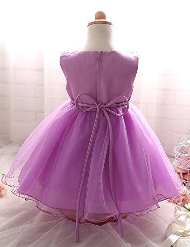 NNJXD Girl Flower Sequin Princess Tutu Tulle Baby Party Dress Size 3.5 Years Purple