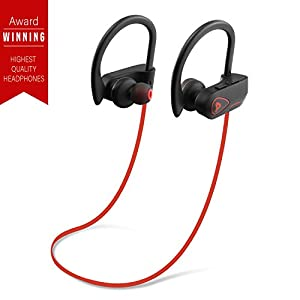 PrimeWire Powerbuds Bluetooth Earbuds, The Best Wireless Sports Earphones w/ Mic IPX7 Waterproof HD Stereo Sweatproof In Ear Earbuds for Gym Running 8 Hour Battery Noise Cancelling Headphones- Red