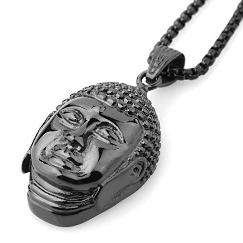 Jewelry Kingdom 1 Western Style Black Stainless Steel Religion Buddha Head Pendant Necklace