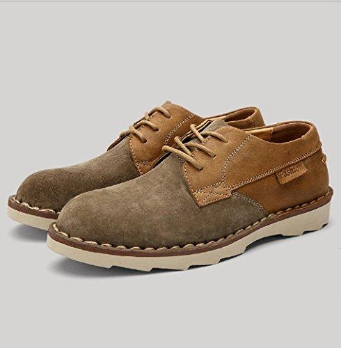 Heart&M gamuza de cuero casual hombres ronda toe zapatos de cuero Khaki