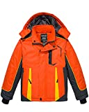 Wantdo Boy's Waterproof Ski Jacket Hooded Fleece Lined Winter Coat Orange 6/7